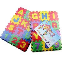 Wholesale 3d Floor Mats - Wholesale- children mini EVA Foam english Alphabet Letters Numbers Floor Soft Baby Mat 3d puzzle Kids Educational toys 36 pcs