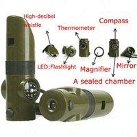 Wholesale Military Kits - 7 in 1 Multifunctional Military Survival Kit Magnifying Glass Whistle Compass Thermometer LED Light