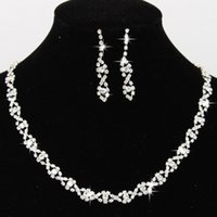 Wholesale Bling Jewellery - 2017 Bling Crystal Bridal Jewelry Set silver plated necklace diamond earrings Wedding jewellery sets for bride Bridesmaid Accessories CPA796