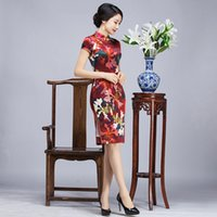 Wholesale Sexy Silk Cheongsam Red - 2017 New summer top grade high quality plus size short sleeve real silk printed flowers red short cheongsam daily Chinese dress qipao