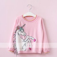 Wholesale Girls Sweater Knit Pattern - New Autumn Winter Pink colorful horse Children Sweaters tassels Knitting Patterns Girls Sweaters kids Pullover Sweaters tops Clothes A906