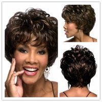 Wholesale Short Curly Synthetic Hair - Xiu Zhi Mei Hight Quality New Stylish Brown Short Curly Lady's Fashion Sexy Party Cosplay Synthetic Hair Wigs