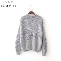 Wholesale Knit Sweater Decorated - Wholesale-Women Sweater 2016 New Fashion Autumn Winter Mohair Pullovers Casual Petal Decorated O-neck Knitted Sexy Loose Femme Sweater