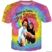 Wholesale 3d Ties - New Fashion Mens Womans Cheech and Chong UP IN SMOKE Tie-dye T-Shirt Summer Style Funny Unisex 3D Print Casual T-Shirt AA360