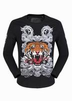 Wholesale Dragon Skull T Shirts - Mens Long Sleeve Tiger & Dragon 3D Printed Designer Shirts Luxury Polo T shirt Slim Sweater Tee Shirt Boys Sports Jacket