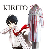 Wholesale Blood Sword - SAO Sword Art Online Kinghts of Blood Kazuto Kirigaya Kirito White Uniforms Set Cosplay Costume(Cape+Vest+Pants+ Shoulder Strap)