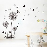 Wholesale wallpaper tv setting - XL8147 Dandelion Sitting Room TV Setting Wall Stickers Decoration Plant ButterflyWall Stickers Cane Vines Wallpaper PVC Flower Wall Stickers