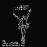 Wholesale Michael Jackson Accessories - 32pcs lot Rhinestone Transfer Motifs Iron On MICHAEL JACKSON DIY For Garment Accessory