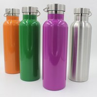 Wholesale Thermal Portable Cup - 750ML Sports Water Bottles Vacuum Insulated Stainless Steel Cups Double Wall Portable Outdoor Travel Climbing Mugs Free Shipping WX-C40