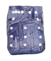Wholesale Diaper Guard - High quality baby cloth diapers nappies washable reusable one size fit all animal denim pocket printed waterproof leak guard snap closure