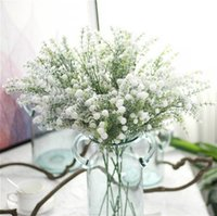Wholesale Filler Flowers - 10pcs Frosted Bush Artificial Baby's Breath Silk Flower Xmas Home Furnishing Wedding Arrangement Floral Fillers Free Shipping