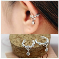 Wholesale Ear Piercing Clip Jewelry - Fashion New 925 Sterling Silver Rhinestone Ear Cuff Waterdrop Non-pierced Ears Earring Jewelry Gold Silver Ear Clip Earrrings Free Shipping