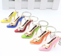 Wholesale Cars Candy - keychain shoe Women Gold-plate Acrylic candy High Heeled Key chains ring Purse Pendant Bags Cars Shoe Ring Holder Chains Key Rings For Gifts