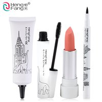 Wholesale Hengfang Eyeliner - Wholesale-NEW! 1Set=4Pcs HengFang Zoo Series Makeup Set Lipstick and BB Cream and Eyeliner and Mascara #HF003