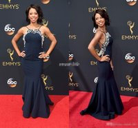 Wholesale Cheap Emmy Dresses - 68th Annual Primetime Emmy Angel Parker Celebrity Evening Dresses Backless Navy Blue Crystals Spaghetti 2017 Cheap Long Prom Party Dresses