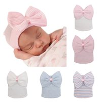 Wholesale Wholesale Bowtie For Baby Boys - Lovely Bowtie Hats Babies Girls Boys Winter Warm Cotton Skull Caps like CC Beanies for 0-6M Newborn Baby