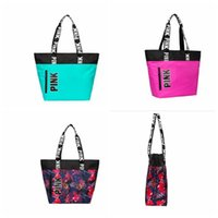 Wholesale Pink Floral Purse - Pink Letter Shoulder Bags Pink Travel Duffle Bags Fashion Totes Floral Purses Secret VS Handbag Beach Bag Shoulder Bag KKA2892