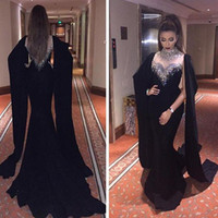 Wholesale Vintage Saudi - 2017 High Neck Black Mermaid Prom Dresses Beaded Crystals Muslim Saudi Arabia Formal Evening Prom Gowns Vestidos de Festa Party Dresses