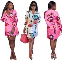 gevşek kadın giysileri toptan satış-Moda Günlük Elbiseler Kadın Şık Baskılı Gömlek Elbiseler Gevşek Mini Soyunma Artı Boyutu Giyim