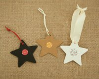 Wholesale favor tags labels - New Arrive 100Pcs Star Kraft Paper Label Wedding Christmas Halloween Party Favor Price Gift Card Luggage Tags White Black Brown 3Colors