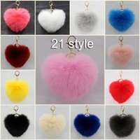Wholesale Yellow Gold Purple Diamond Rings - Free DHL Hear Shape Fur Ball Pom Keychain For Car Ring Handbag Charm Pendant 21 Color 12cm Key Ring Chain Women Gift C133L