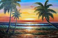 масляные холсты ладони оптовых-Оформленный островной пляж Sunset Surf Hawaii Palms, Чистая ручная роспись Seascape Art Картина маслом на толстом холсте, несколько размеров, бесплатная доставка J031