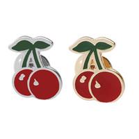 clips de crachá de jóias venda por atacado-Trendy Mulheres Fruta Botão Vermelho Cereja Esmalte Broche Corsage Vestido Chapéus Cachecol Clips Pin Partido Do Casamento Jóias Emblema zj-0904505