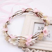 Wholesale Korean Boho - New Wedding garlands bride photography hair accessories Korean Flower Head Wreaths beach headband Boho Crown C1369
