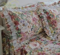 Wholesale 72 Deluxe - country style Deluxe large flower printing cotton twill ruffles embroidered lace bedding sets 4pcs quilt cover pillowcase bed skirt
