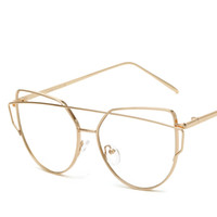 36c627fdbf Clear Flat Lens Sunglasses Clear Lens Gold Frame Alloy Women Glasses  Personality Exaggerated Transparent Lady Sun Glasses With Case