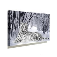 Wholesale Tiger Canvas Wall Art - 1 Panels White Tiger Painting Home Decor Wall Art Picture Digital Art Print Canvas Printed Picture for Living Room