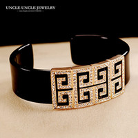 brazaletes de oro blanco sólido al por mayor-Diseño de marca Oro rosa Color Retro Roma Diseño Rhinestone austriaco Cuadrado Acrílico Lady Brazalete Al por mayor
