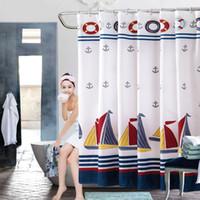 marine vorhänge großhandel-Sommer-Art-Seeduschvorhang-Segelboot-Marine-Blau-Streifen-szenische Bad-Vorhänge imprägniern Polyester-Gewebe-Duschvorhang mit Haken