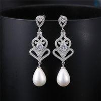 Wholesale vintage pearl clasps for sale - Vintage Wedding Bridal Earrings Teardrop Pearl Baroque Style Cubic Zirconia Post Earring Silver Gold Bridal Jewelry Wedding Earrings