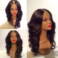 Wholesale 22 u part wig resale online - U Part Brazilian Wavy Wigs Unprocessed Virgin U Part Human Hair Wigs Natural Color b Black Brown Color inch