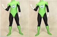 Wholesale Green Lantern Zentai - Fance Dress New lycra zentai superhero costume green lantern Size S-XXL