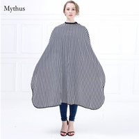 Wholesale Lady Elegant Hair - New Arrival Elegant Lady Hairdressing Cape Black And White Strip Hair Cutting Cape Gown Adjustable Neck Button Salon Cape