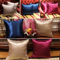 Wholesale ice car cover - High Quality Silk Pillow Case Cover Glamour Square Home Sofa Car Decor Ice silk PillowCovers 3 Color 45*45cm WX-P16