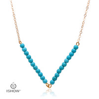 Wholesale Fashion Jewelry Multi Layered Chains - 10Pcs Lot Summer Style Jewelry Fashion Women's Multi Layered Necklace Blue turquoise beads Pendant Necklace Gold