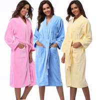 Wholesale Women S Soft Robes - Wholesale- Women Robes 2016 Winter Warm Cotton Sleepwear Kimono Robe Woman Hotel Spa Long Sleeve Soft Plush Bathrobe Solid nightgown Pijama
