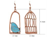 Wholesale Bird Cage Earrings - Vintage Gold plated Fashion Irregular Oil Bird-Cage Lovely Drop Earrings For Women Peace Dove Bird Cage Dangle Earrings
