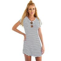 Cheap Black White Striped Sundress | Free Shipping Black White ...