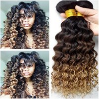 Wholesale honey brown hair weave online - Dark Root B Brown to Honey Blonde Virgin Brazilian Human Hair Deep Wave Three Tone Colored Human Hair Weave Bundles