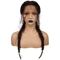 Wholesale Hair Wigs Nature - Nature 2# Color Braids With Baby Hair Synthetic Lace Front Wigs Braided Box Braids Wig Long Glueless Heat Resistant Fiber