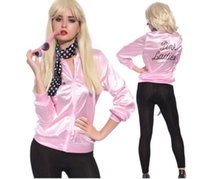 Wholesale Long Womens Dress Coats - 2017 New Halloween Pink Lady Retro Jacket Womens Fancy Dress Grease Costume Cheerleader Women Pink Outerwear & Coats