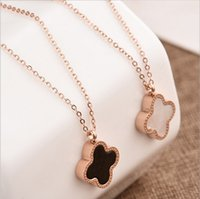 Wholesale clover design necklaces - Double faced black four leaf clover necklace female rose gold short design pendant chain birthday gift 162304