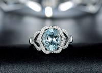 Wholesale Diamond Aquamarine Engagement Rings - Free Shipping Solid 14k White Gold Genuine Natural Sparkly Aquamarine Engagement Diamond Ring(R0129)