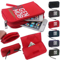 Wholesale Cloth Wholesale Pouch - Universal Hip hanging Cloth Cover Dual Zipper Wallet Bag For Iphone 7 6 Galaxy S8 Plus Buckle Case Belt Pouch with Hand Rope