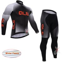 Wholesale Thermal Clothing China - winter MTB Bicycle Clothing ALE Men's Cycling Thermal Fleece jersey bib long pants cheap-clothes-china maillot ciclismo ropa ciclismo L2902