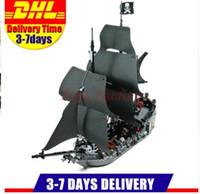 Wholesale Toy Black Pearl Ship - DHL Free 2017 804PCS LEPIN 16006 Pirates of the Caribbean The Black Pearl Ship Building Model Blocks Set Toys Clone 4184